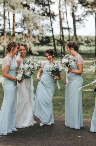 Charlotte's wedding featuring BRIDESMAIDS wearing Luna Jemima in Shallow Blue from Fairytale Bride 01376 743121 (2)
